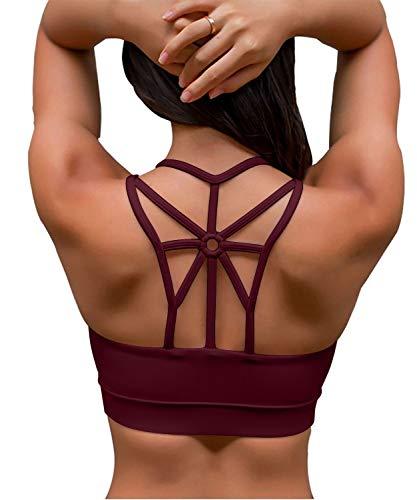 YIANNA Damen Sport BH Ohne Bügel Bequem Bustier mit Gepolstert Cup Atmungsaktiv Yoga Bra Top,UK-YA-BRA139-Red-XXL